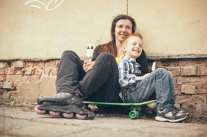 Mother and Son Skateboarding by Lumina for Stocksy United