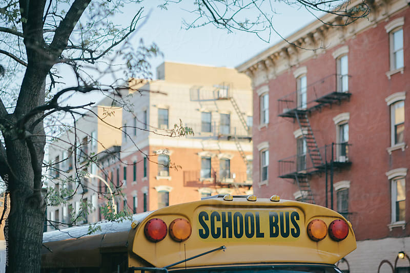 School Bus in Brooklyn New York by Joselito Briones for Stocksy United