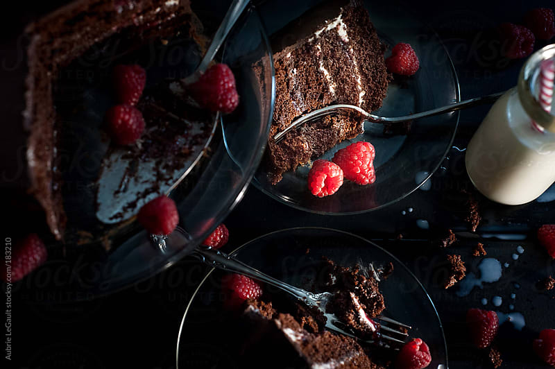 Chocolate Cake & Milk by Aubrie LeGault for Stocksy United