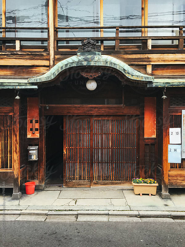 Japanese Architecture - Traditional Kyoto Wooden House Entrance by Julien L. Balmer for Stocksy United