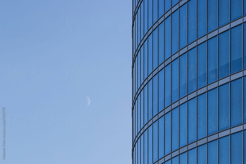 Latvia, Riga - Detail of modern high rise building and half moon by Melanie Kintz for Stocksy United