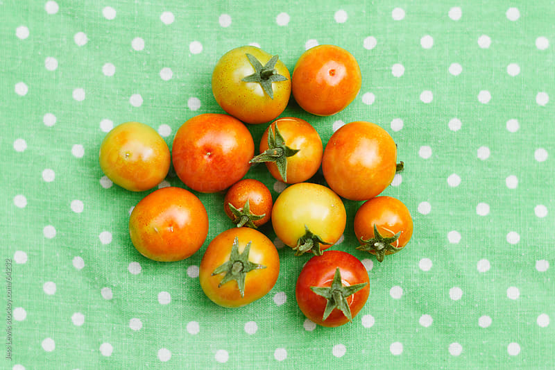cherry tomatoes on green and white cloth by Jess Lewis for Stocksy United