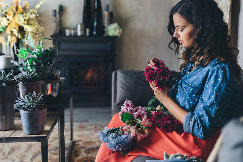 Florist Making Flower Bouquets by Lumina for Stocksy United