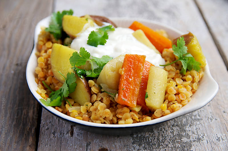 Red Lentils with Spicy Root Vegetables by Harald Walker for Stocksy United