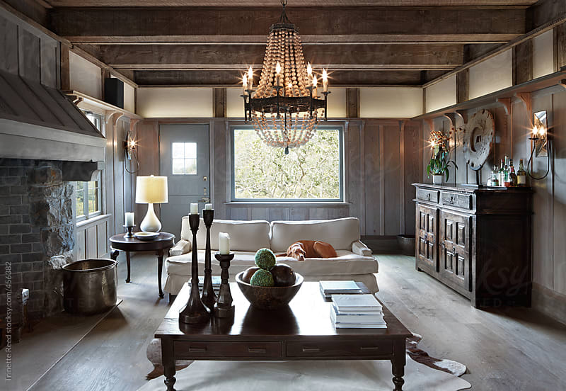 Rustic living room in luxury custom built home in California by Trinette Reed for Stocksy United