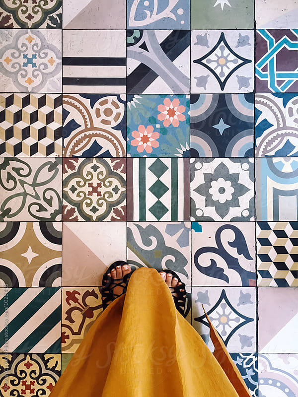 Colorful set of ornamental tiles  by Kristen Curette Hines for Stocksy United