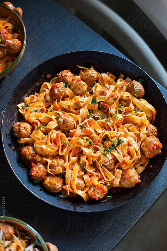 Tagliatelle with meatballs by Davide Illini for Stocksy United
