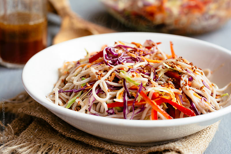 Rainbow Soba Noodle Salad by Harald Walker for Stocksy United