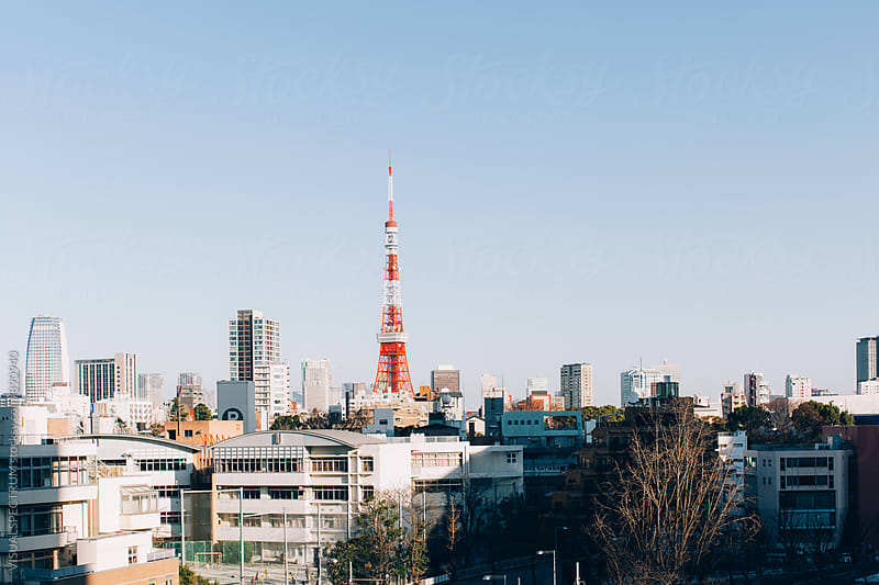 Japan - Tokyo Tower on Sunny Day by Julien L. Balmer for Stocksy United