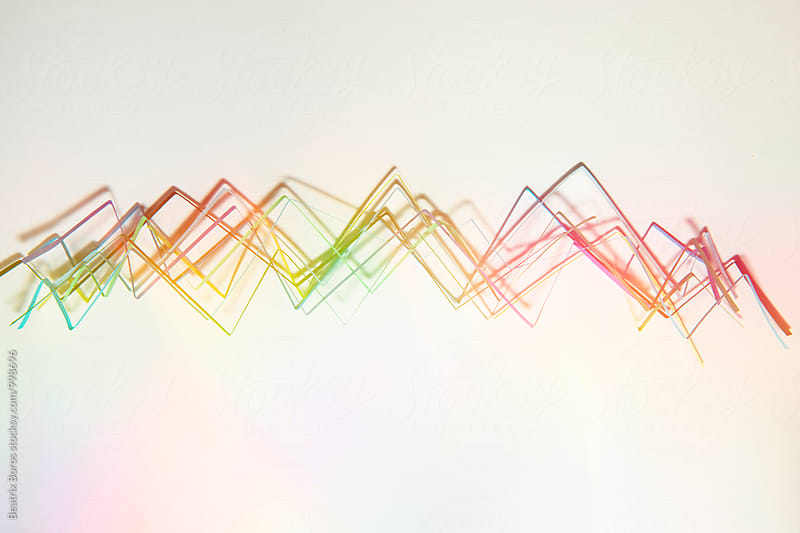 Colorful abstract graphs on each other by Beatrix Boros for Stocksy United