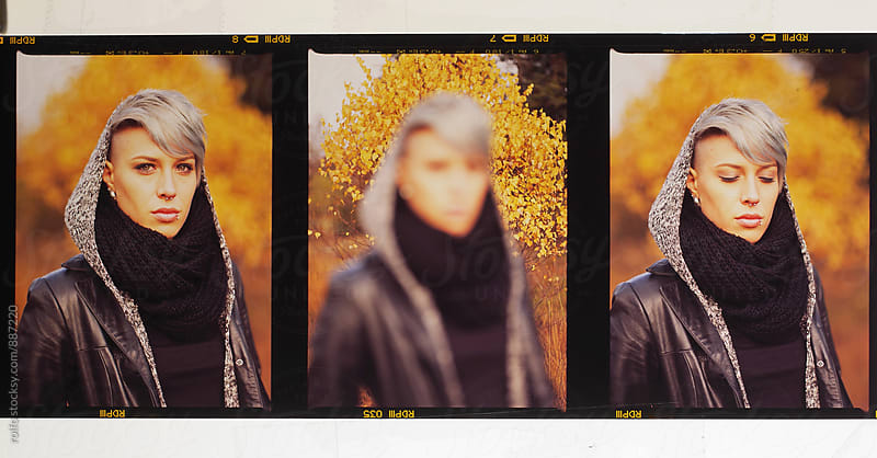 Three different shots of young woman in forest. Film by rolfo for Stocksy United
