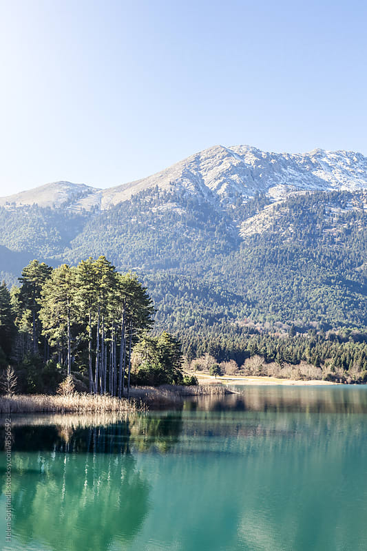 Landscape of a Mountain and Trees Reflected in a Lake by Helen Sotiriadis for Stocksy United