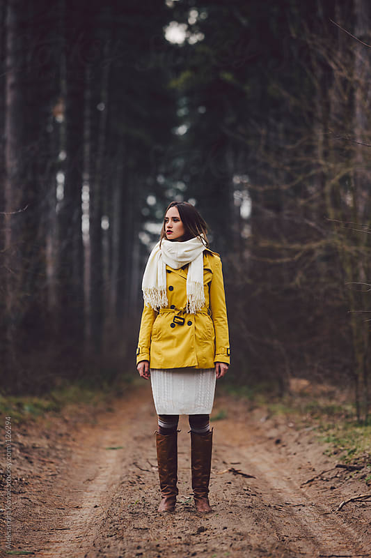 Woman stands in the woods forest by Aleksandra Kovac for Stocksy United