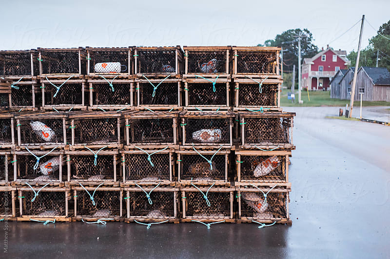 Lobster traps stacked on fishing docks by Matthew Spaulding for Stocksy United