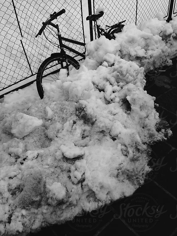 Bike in the snow by Bor Cvetko for Stocksy United