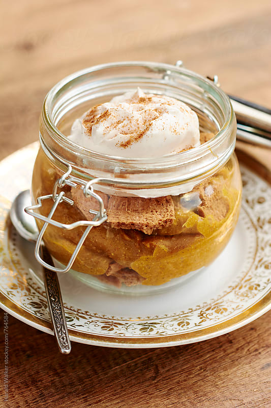 Pumpkin Pie in a Jar with Ginger Snaps by Harald Walker for Stocksy United