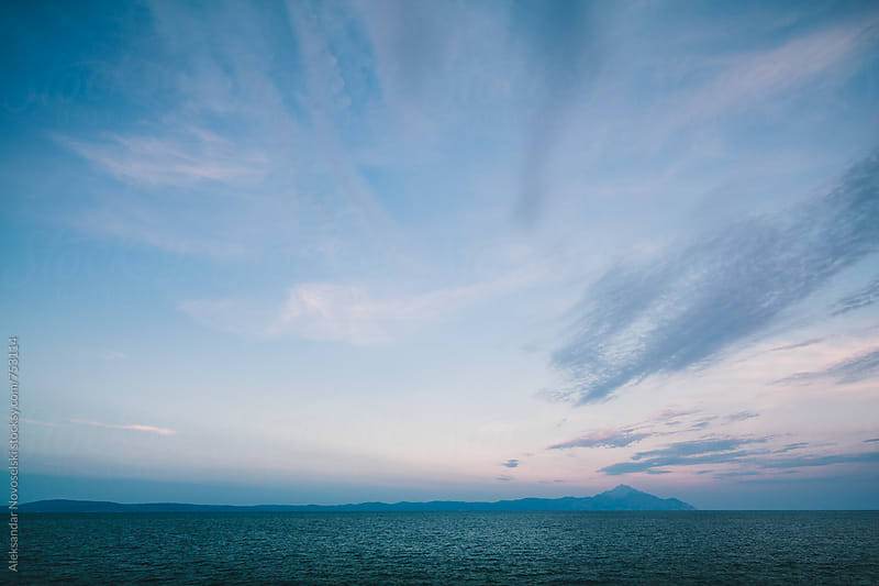 Minimalist seascape in Greece by dusk by Aleksandar Novoselski for Stocksy United