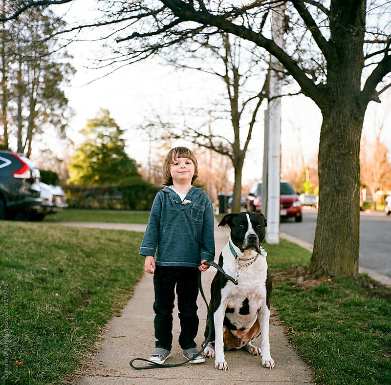 Boy and his dog portraits  by Cameron Whitman for Stocksy United