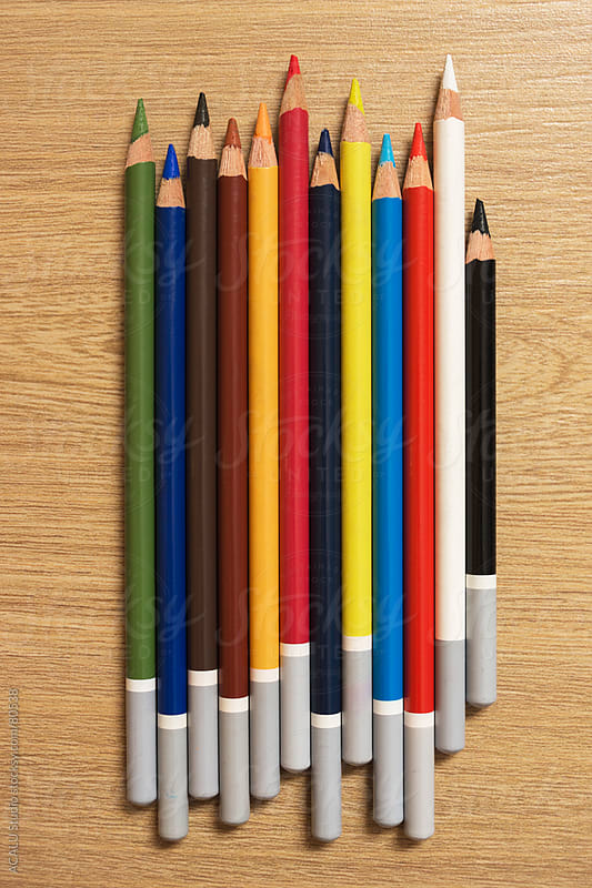 Colored pencils lined by ACALU Studio for Stocksy United