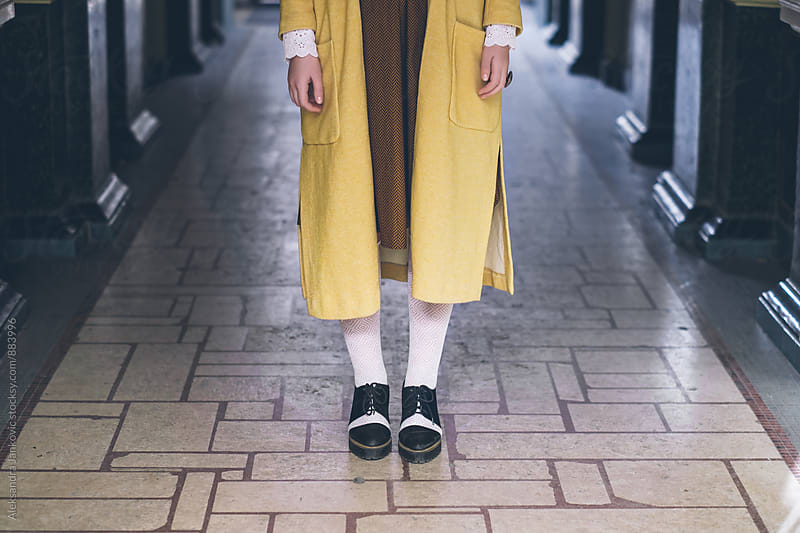 Close Up of a Stlyish Woman Wearing Vintage Yellow Coat by Aleksandra Jankovic for Stocksy United