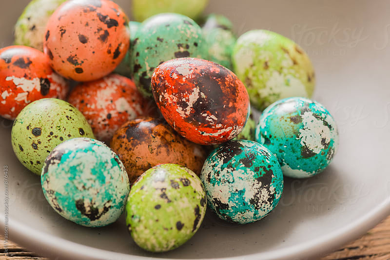 Colored Quail Eggs For Easter in Bowl by Studio Six for Stocksy United