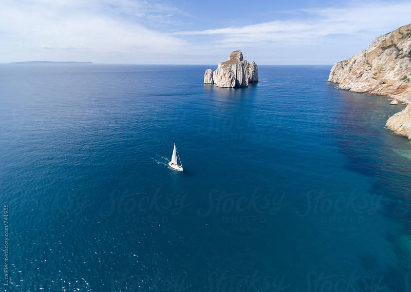 Yacht Sailing on Mediterranean sea by Luca Pierro for Stocksy United
