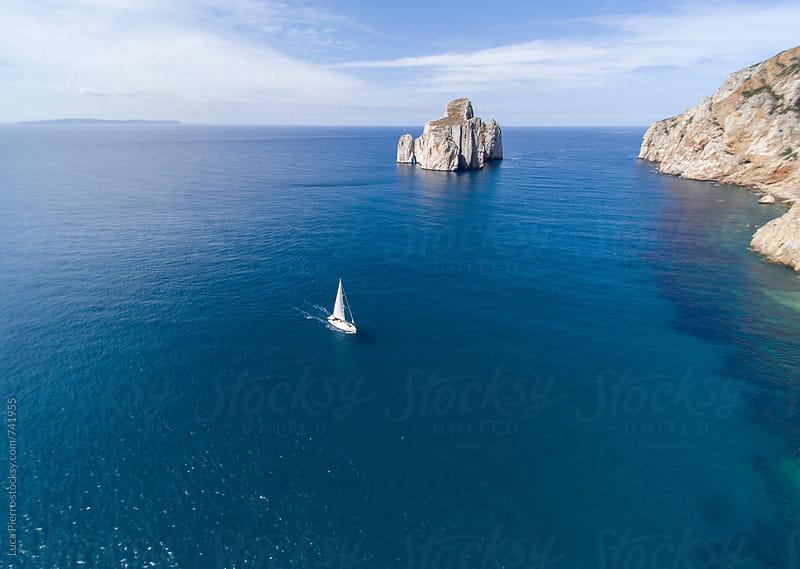 Yacht Sailing on Mediterranean sea by Luca Pierro for Stocksy United