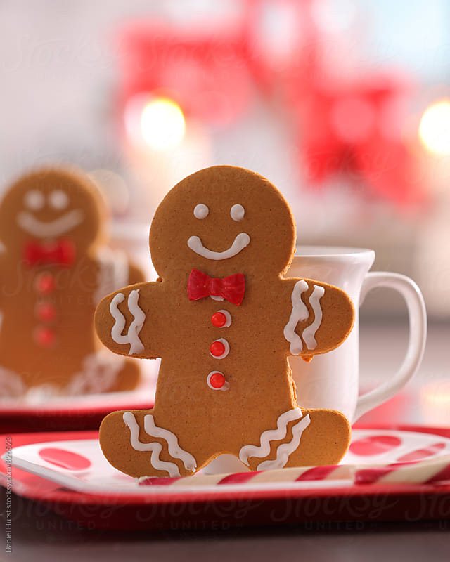 Homemade gingerbread cookies and hot cocoa by Daniel Hurst for Stocksy United