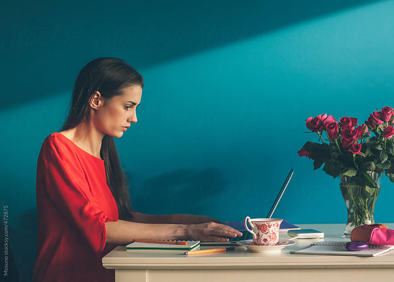 Businesswoman Working at Home by Mosuno for Stocksy United
