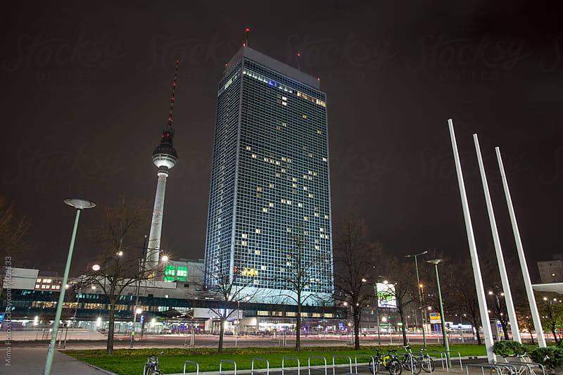 Berlin Alexanderplatz at night by Mima Foto for Stocksy United