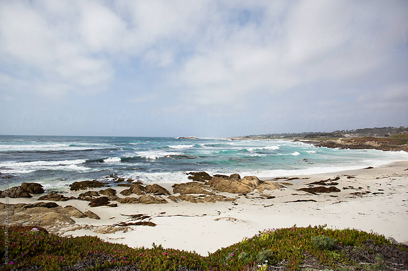 View of the beach on the coast of the Pacific Ocean by michela ravasio for Stocksy United