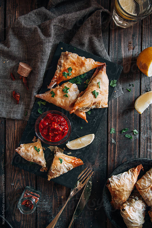 Indian samosa filled with potatoes and peas by Nataša Mandić for Stocksy United