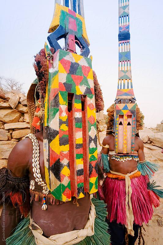 Africa, West Africa, Mali, Dogon Country, Bandiagara escarpment, Masked Ceremonial Dogon Dancers near Sangha by Gavin Hellier for Stocksy United