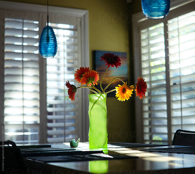 A vase with dasies and light coming through the windows by Carolyn Lagattuta for Stocksy United