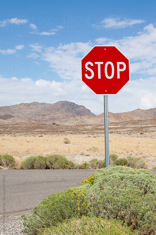 Stop sign along rural road, near Jackpot, Nevada by Paul Edmondson for Stocksy United