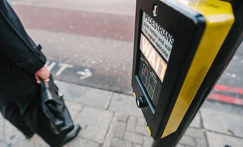 Traffic light for Pedestrains in London by GIC for Stocksy United