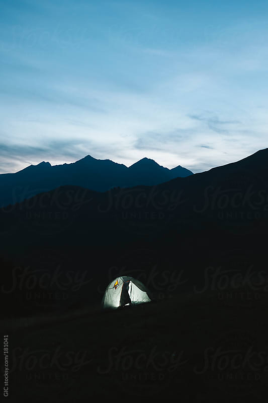 Illuminated tent at night camping by GIC for Stocksy United