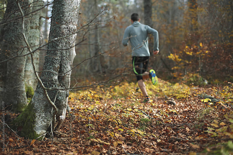 Trail runner training outdoors in the forest by Miquel Llonch for Stocksy United