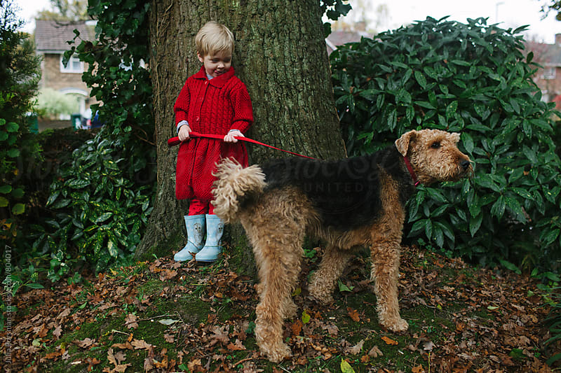 A little girl holds an Airedale dog on a lead in a garden. by Julia Forsman for Stocksy United