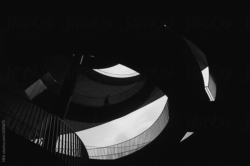 Black and White Stairs . Geometry  by HEX. for Stocksy United