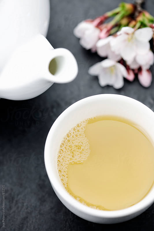 Food: Green tea and japanese cherry blossom by Ina Peters for Stocksy United