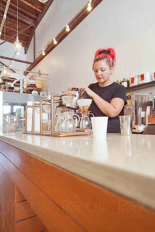 Female Barista Making Filter Coffee by VISUALSPECTRUM for Stocksy United