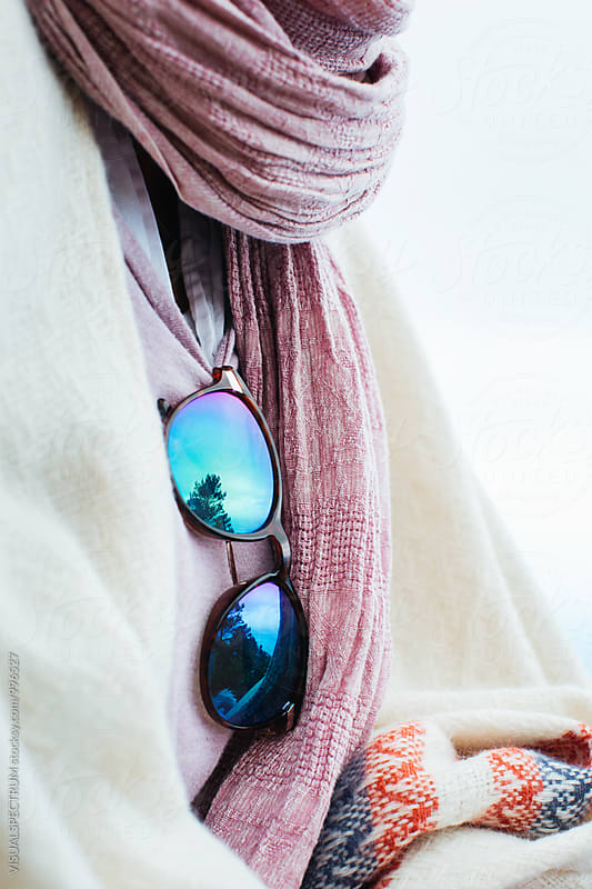 Close Up of Mirrored Sunglasses on Well-Dressed Woman by Julien L. Balmer for Stocksy United