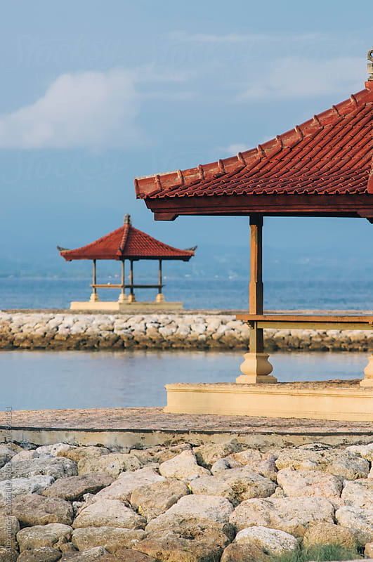 A Balinese Pagoda On The Beach by Alexander Grabchilev for Stocksy United