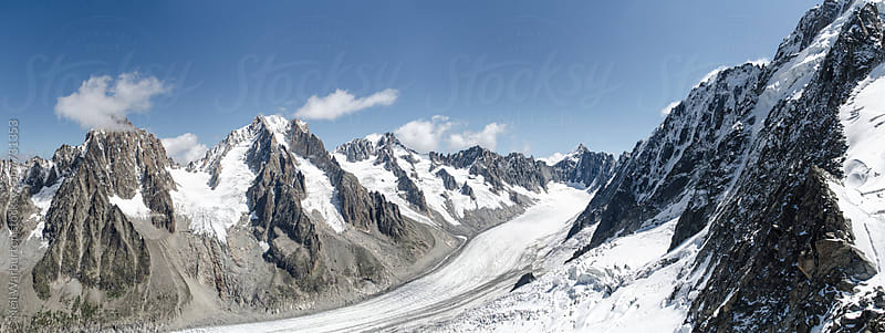 Panorama of the Glacier d'Argentiére and surrounding range by Neil Warburton for Stocksy United