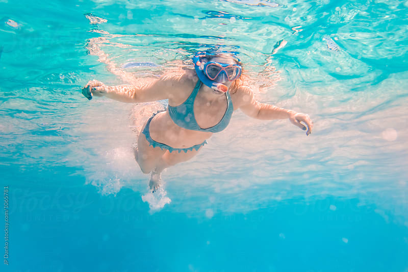 Woman Swimming Snorkeling Underwater at All Inclusive Caribbean Resort White Sand Beach by JP Danko for Stocksy United