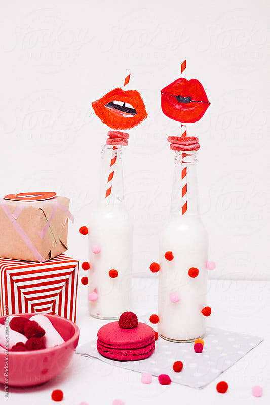 Valentine\'s Day Party Decoration With Red Lips on a Straw
