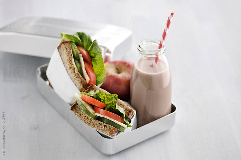 Lunchbox with Sandwich, Apple and Chocolate Milk by Ina Peters for Stocksy United