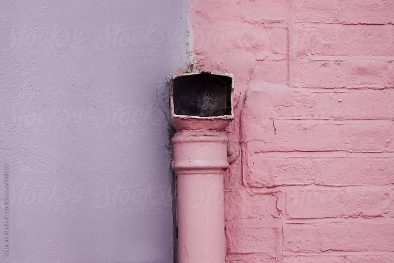 Pastel Purple and Pink Wall With a Pink Pipe on it by Katarina Radovic for Stocksy United