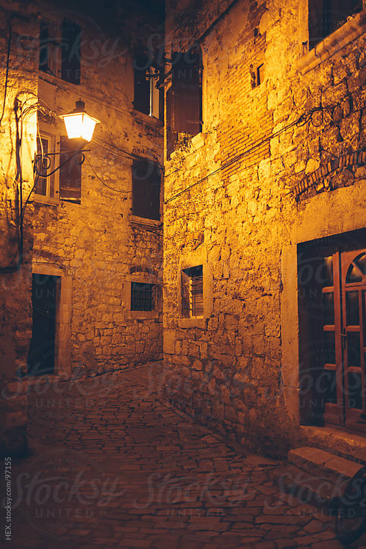 Exterior Houses in Rovinj By Night by HEX. for Stocksy United